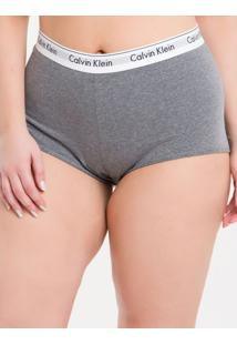 Calcinha Boyshort Moder Cotton Plus Size - Grafite - 3Xl