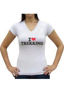 Camiseta Baby Look Casual Sport Trekking Branca