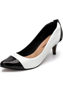 Sapato Scarpin Salto Baixo Em Verniz Branca E Verniz Preto