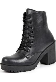 Ankle Boot Tratorado Cadarço Touro Boots Feminino Preto Fosco