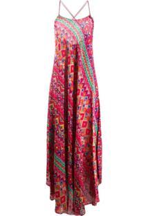 Etro Vestido Longo Com Estampa Geométrica - Vermelho