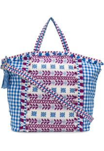 Dodo Bar Or Bolsa Tote Xadrez Oversized Com Bordado - Azul