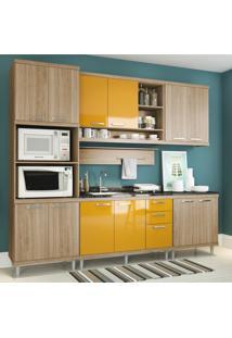 Cozinha Completa Multimóveis Com 6 Peças Sicília 5814 Argila/Amarelo
