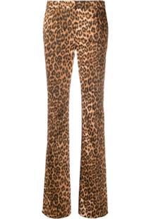 Blumarine Calça Flare Com Estampa De Leopardo - Marrom