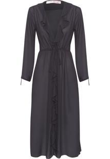 Robe Feminino Midi Bouquet - Preto