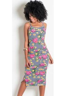 Vestido Com Recortes Vazados Na Cintura Floral