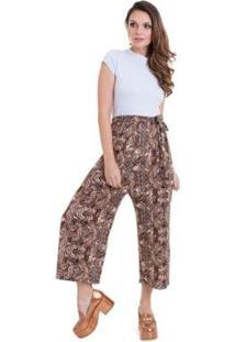 Calça Manola Pantalona Com Detalhe Na Cintura Onça - Feminino