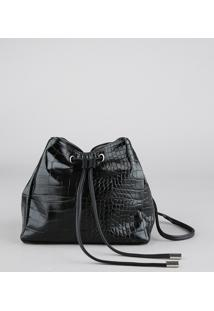 Bolsa Feminina Bucket Pequena Croco Preta - Único