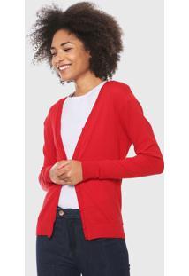 Cardigan Malwee Tricot Bã¡Sico Vermelho - Vermelho - Feminino - Dafiti