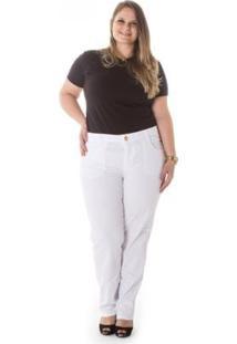 Calça Plus Size Confidencial Extra Cotelê Cigarrete Feminina - Feminino-Branco