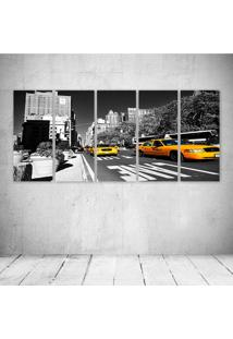 Quadro Decorativo - Ny Taxis Amarelo I - Composto De 5 Quadros