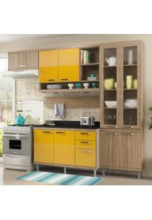 Cozinha Compacta Sicília 9 Portas Com Tampo E Vidro Amarelo/Argila - Multimóveis