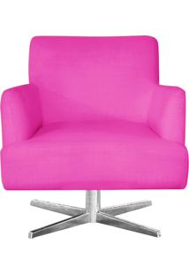 Poltrona Decorativa Havana Suede Pink Com Base Estrela Aço Cromado - D'Rossi