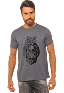 Camiseta Masculina Joss Estampada Caveira Coruja Chumbo