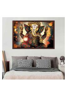 Quadro Love Decor Com Moldura Lord Ganesha Madeira Escura Médio