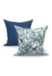 Conjunto De Capas De Almofadas Com 2 Peças Albany Vivace Azul Marinho 60X60 Cm