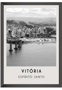 Quadro 65X45Cm Cidades Vitória Brasil Moldura Preta Com Vidro - Oppen House Decora