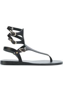 Ancient Greek Sandals Sandália Flat 'Themis' De Couro - Preto