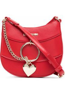 Love Moschino Bolsa Transversal Com Aplicação De Corrente - Vermelho