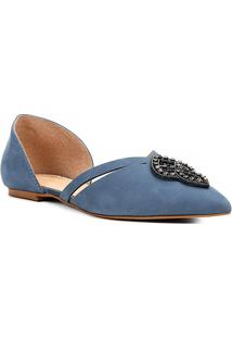 Sapatilha Couro Shoestock Pedra Cristal Feminina - Feminino-Azul