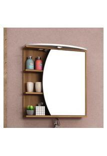 Espelheira Banheiro Bosi Duna Com Led 1 Porta 3 Prateleiras Nogal/Bco