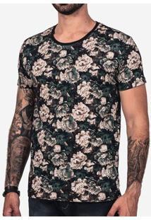 Camiseta Floral Petróleo 102291