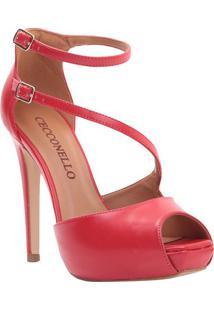 Sandália Meia Pata Com Tiras - Vermelha - Salto: 12Ccecconello