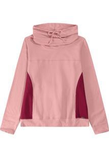 Blusão Rosa Em Moletom Stretch
