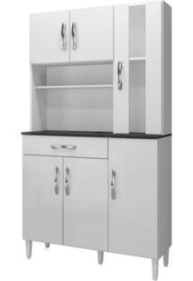 Armário De Cozinha 6 Portas 1 Com Vidro 1 Gaveta Arte Móveis Branco