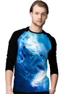 Camiseta Manga Longa Stompy Blue Wolf Masculina - Masculino-Preto