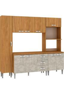 Cozinha Compacta Master Com Tampo Cm04T Nogal/Concreto - Fellicci