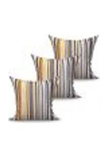 Conjunto De Capas Para Almofada Com 3 Peças Fascínio Bege E Preto 45X45 Cm