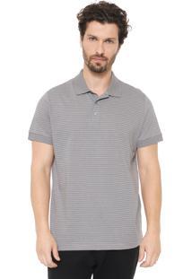 Camisa Polo Colombo Reta Listrada Cinza/Branca