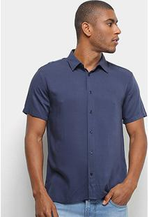 Camisa Colcci Relax Lisa Masculina - Masculino-Azul Escuro
