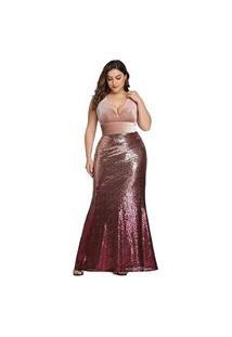 Vestido Longo Ever Pretty Sereia Paetê Plus Size Nude
