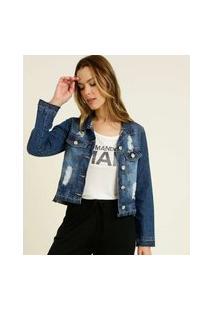 Jaqueta Feminina Jeans Destroyed Razon