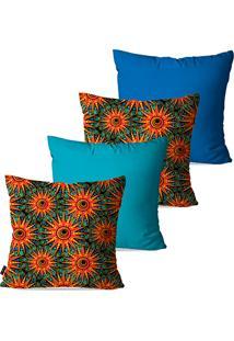 Kit Com 4 Capas Para Almofadas Decorativas Pump Up Azul Flores Abstrato 45X45Cm
