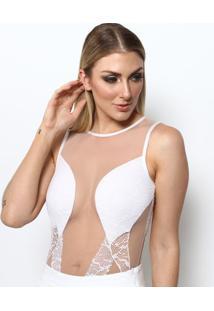 Body Com Tule - Branco & Nudemaria Gueixa