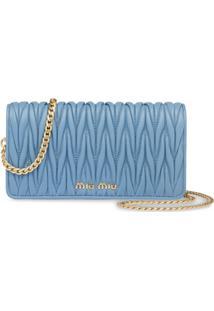 Miu Miu Bolsa Transversal Matelassê Mini - Azul