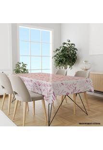 Toalha De Mesa Retangular Para 8 Lugares Flores Rosa 1.45M X 2.70M Único