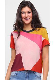 Camiseta Sommerr Estampada Feminina - Feminino-Rosa+Preto