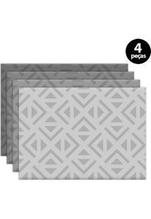 Kit 4Pçs Jogo Americano Mdecor Abstrato 40X28Cm Cinza