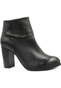 Bota Ankle Boot Zariff Shoes Couro Salto Alto Feminina - Feminino-Preto