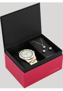 Kit De Relógio Analógico Lince Feminino + Brinco + Colar - Lrgj067L Ku94B1Kx Dourado - Único