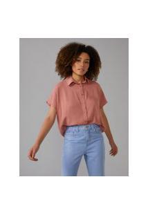 Amaro Feminino Camisa Manga Curta Deslocada, Rosê