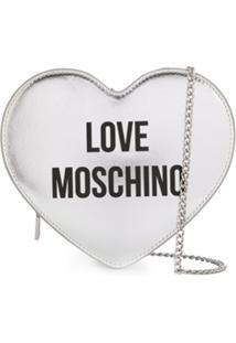 Love Moschino Bolsa Transversal Em Forma De Coração - Prateado