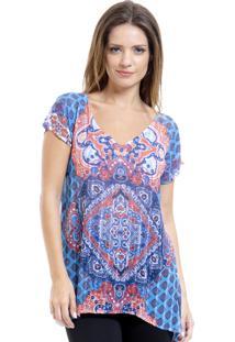 Blusa Estampada 101 Resort Wear Tunica Crepe Decote V Fendas Étnico Azul