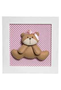 Quadro Decorativo Ursa Quarto Bebê Infantil Menina Potinho De Mel Rosa