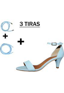 Sandália Troca Tira Salto Baixo Fino Luiza Sobreira Couro Azul Mod.2024-2