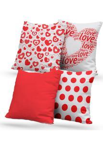 Kit 4 Capas De Almofadas Decorativas Own Love E Corações Vermelho 45X45 - Somente Capa